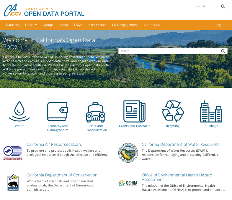 The front page of data.ca.gov.