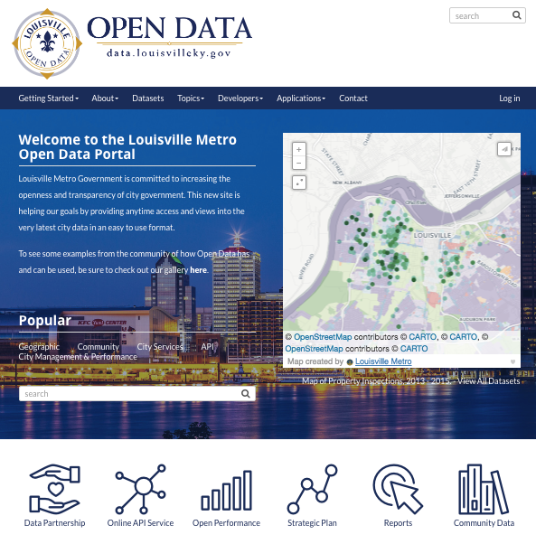 The front page of data.louisvilleky.gov