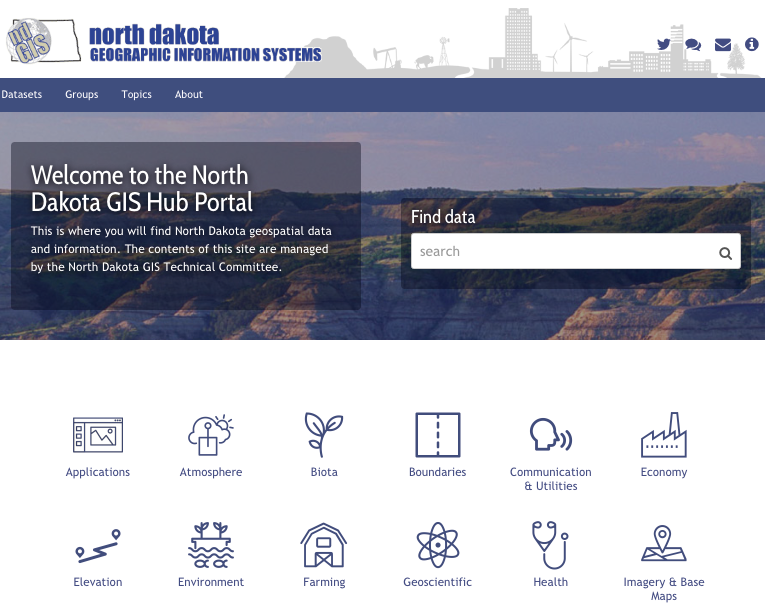 The front page of gishubdata.nd.gov